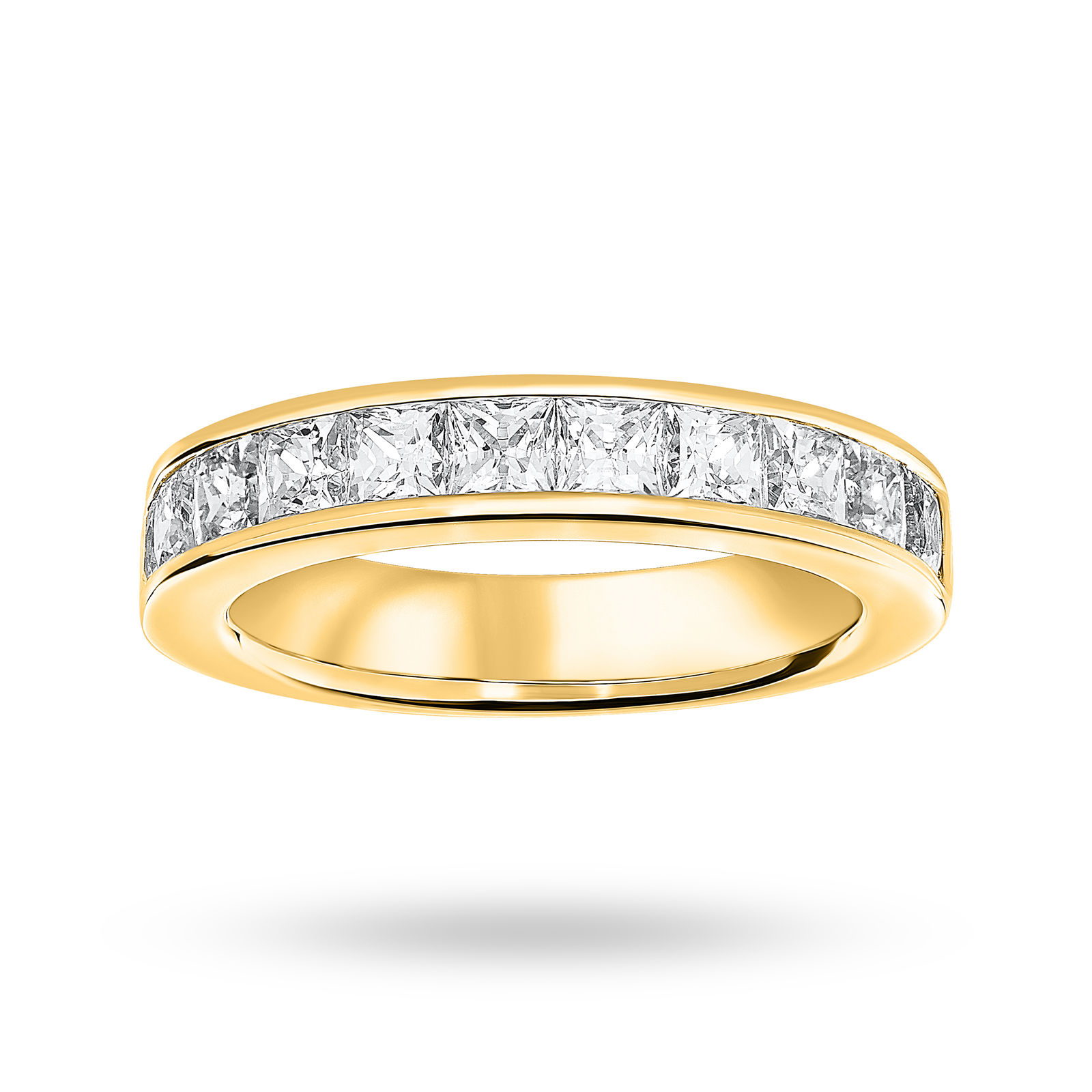 9 Carat Yellow Gold 2.00 Carat Princess Cut Half Eternity Ring