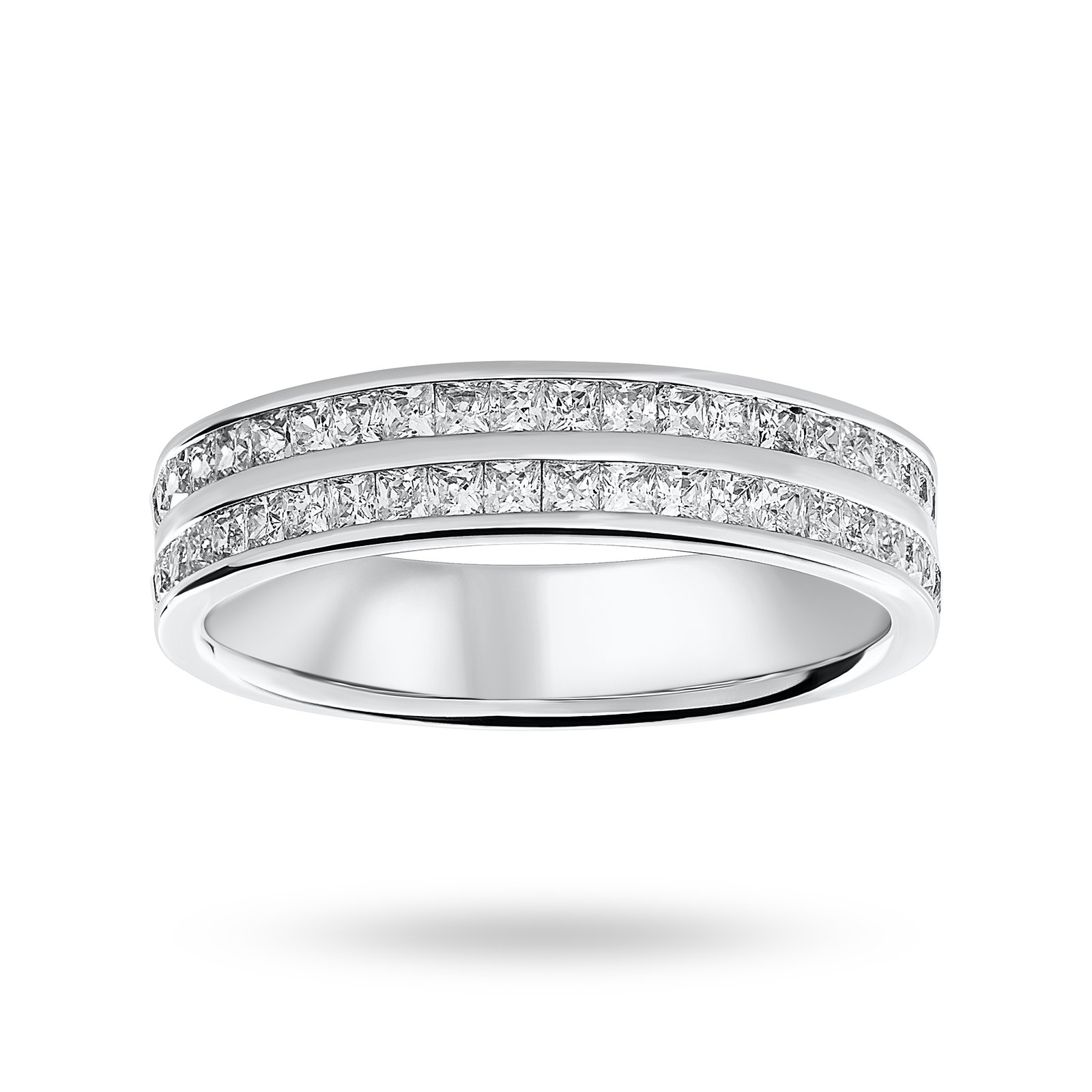 Platinum 0.75 Carat Princess Cut 2 Row Half Eternity Ring