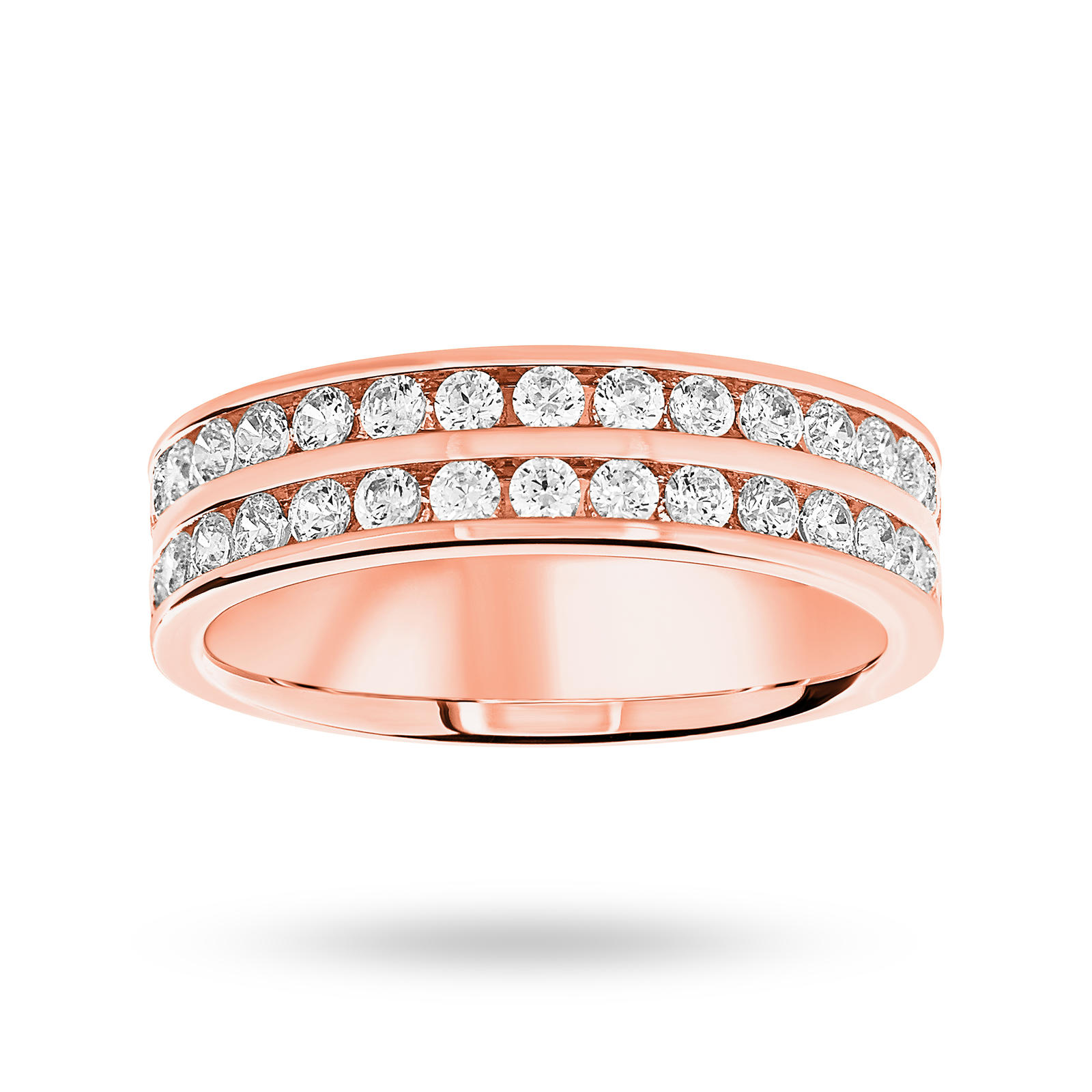 18 Carat Rose Gold 0.75 Carat Brilliant Cut 2 Row Half Eternity Ring
