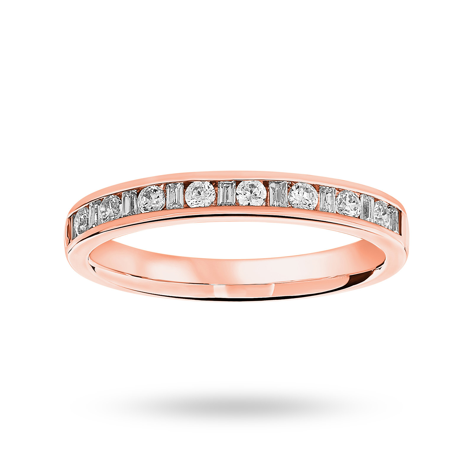 18 Carat Rose Gold 0.25 Carat Dot Dash Half Eternity Ring