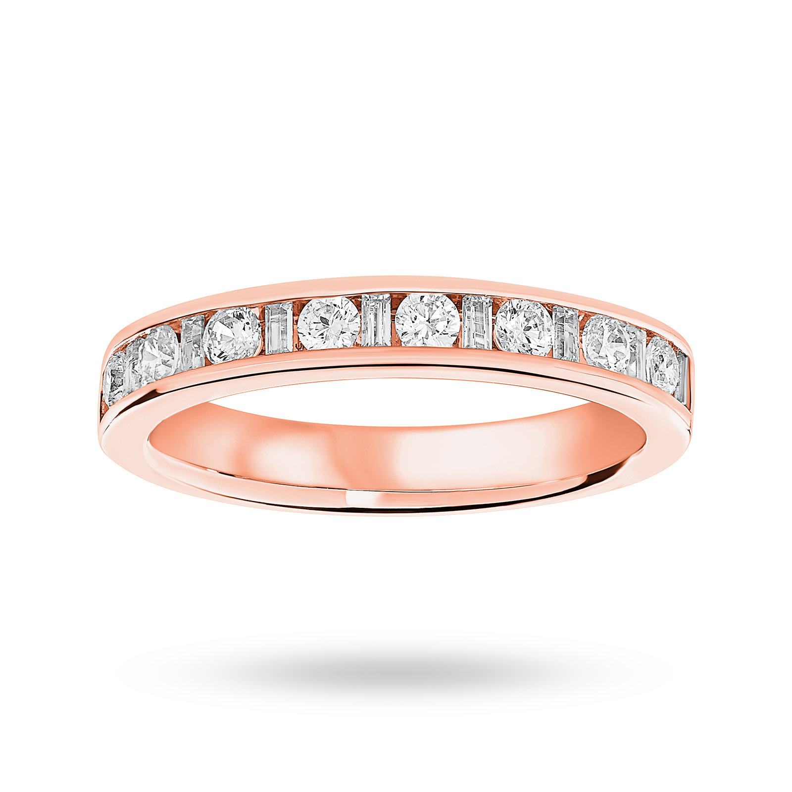 18 Carat Rose Gold 0.50 Carat Dot Dash Half Eternity Ring