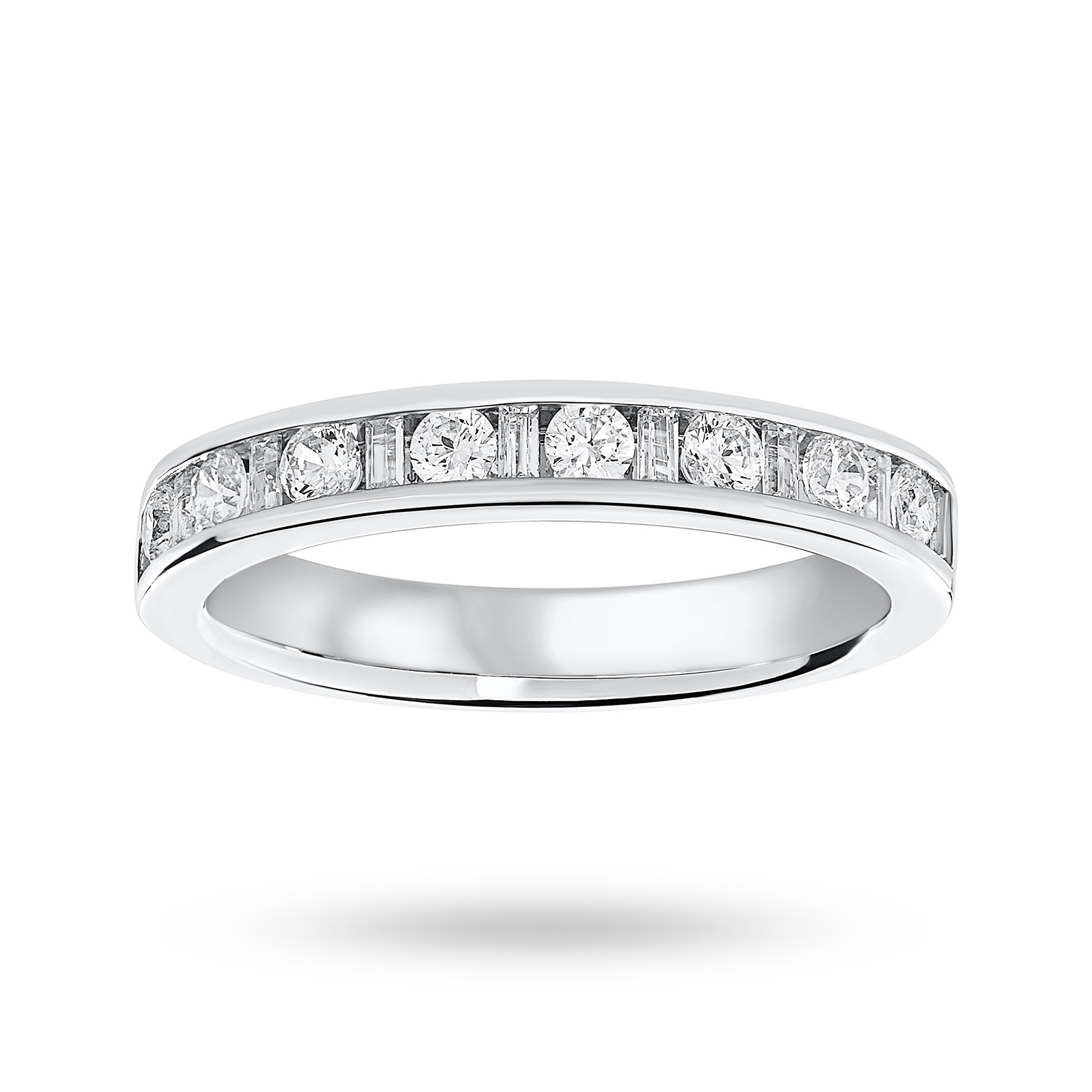 9 Carat White Gold 0.50 Carat Dot Dash Half Eternity Ring