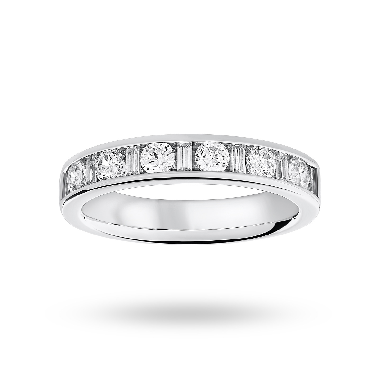 18 Carat White Gold 0.75 Carat Dot Dash Half Eternity Ring