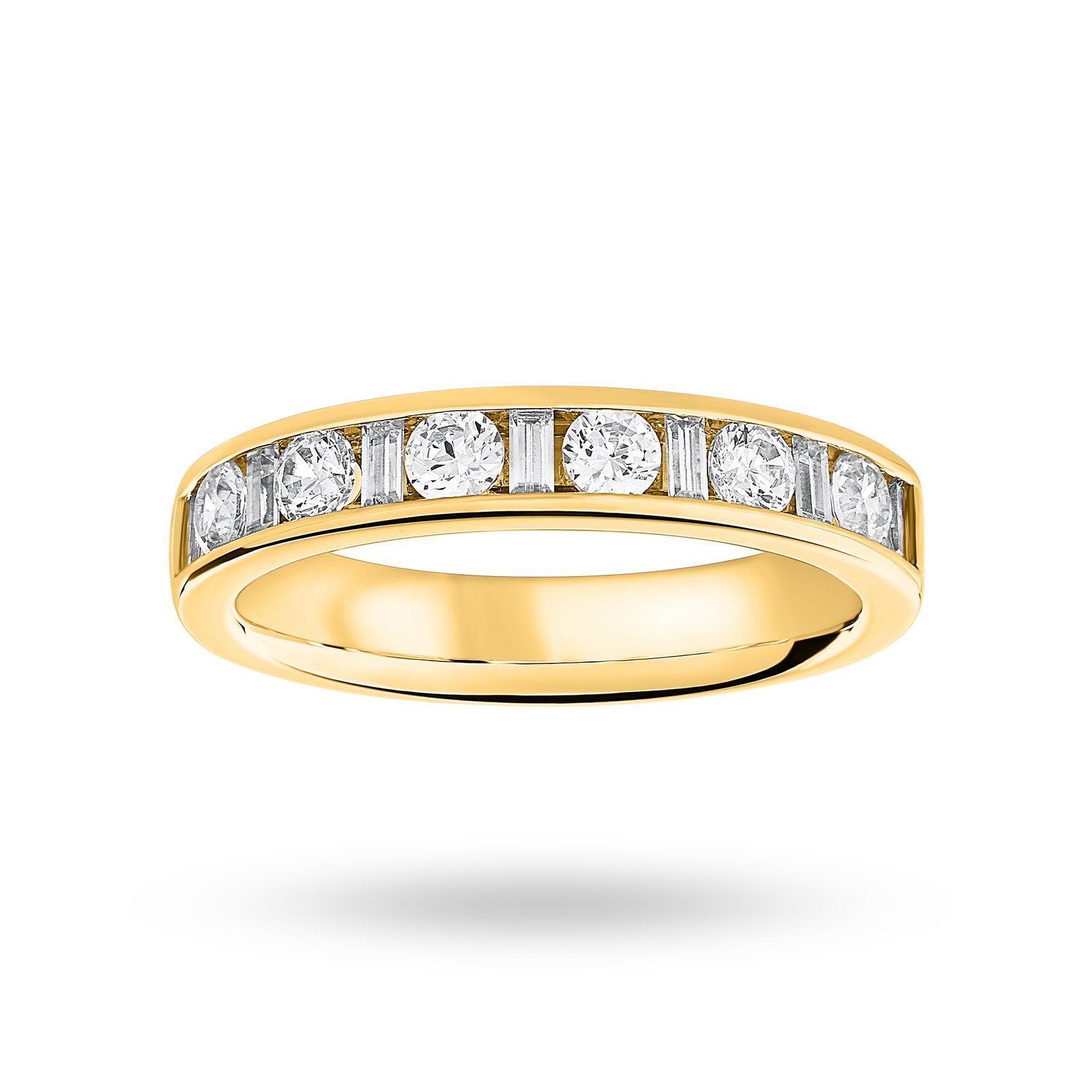 18 Carat Yellow Gold 0.75 Carat Dot Dash Half Eternity Ring