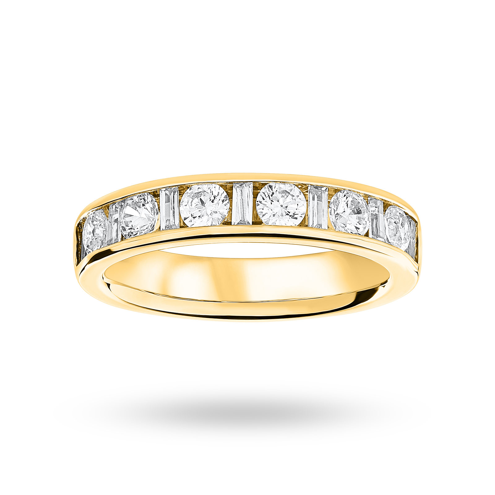 18 Carat Yellow Gold 1.00 Carat Dot Dash Half Eternity Ring