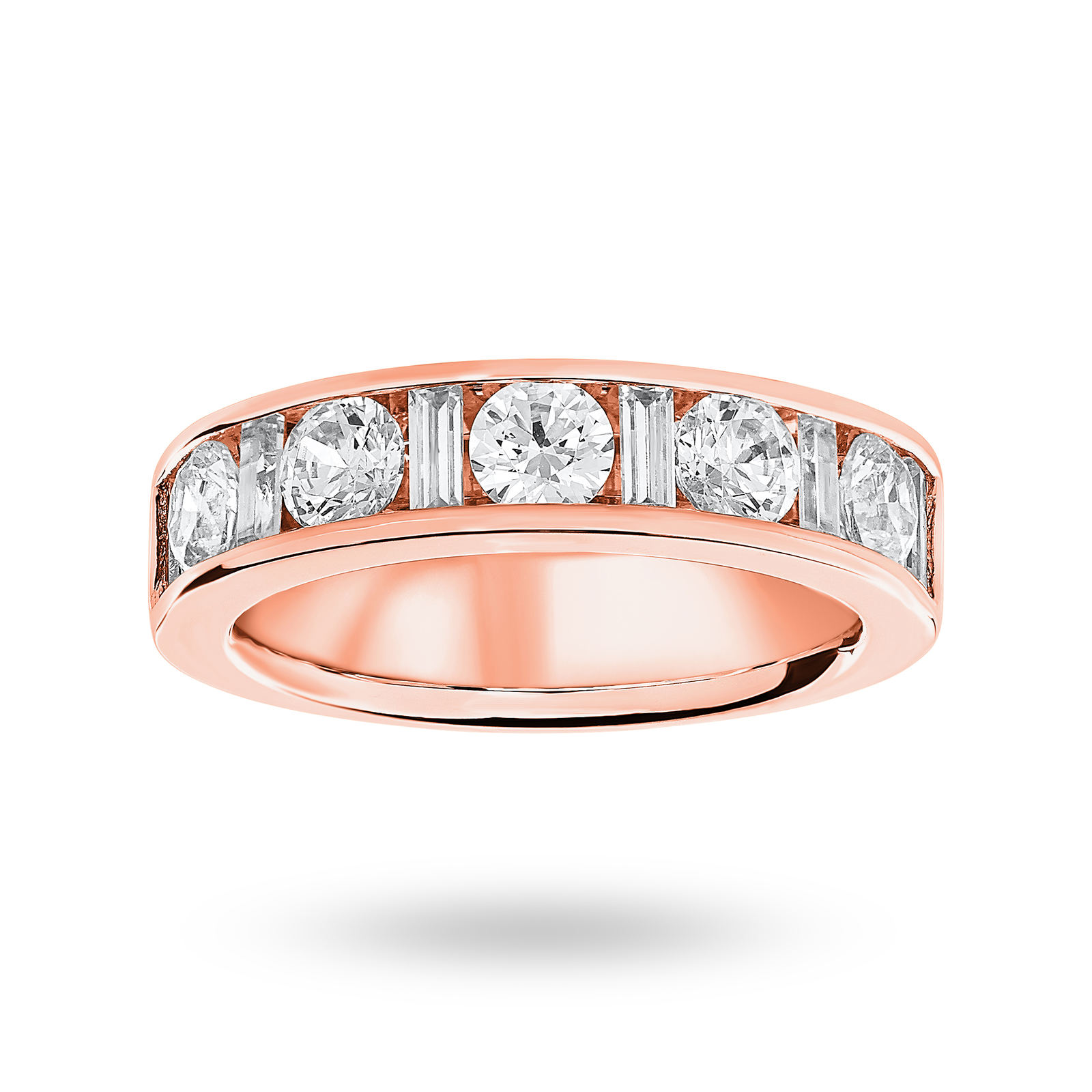18 Carat Rose Gold 1.45 Carat Dot Dash Half Eternity Ring