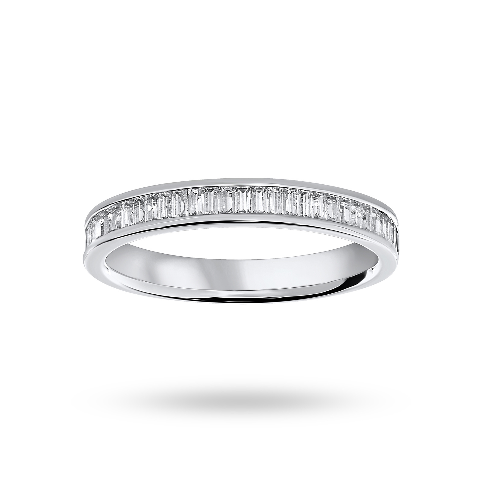 Platinum 0.33 Carat Baguette Cut Half Eternity Ring