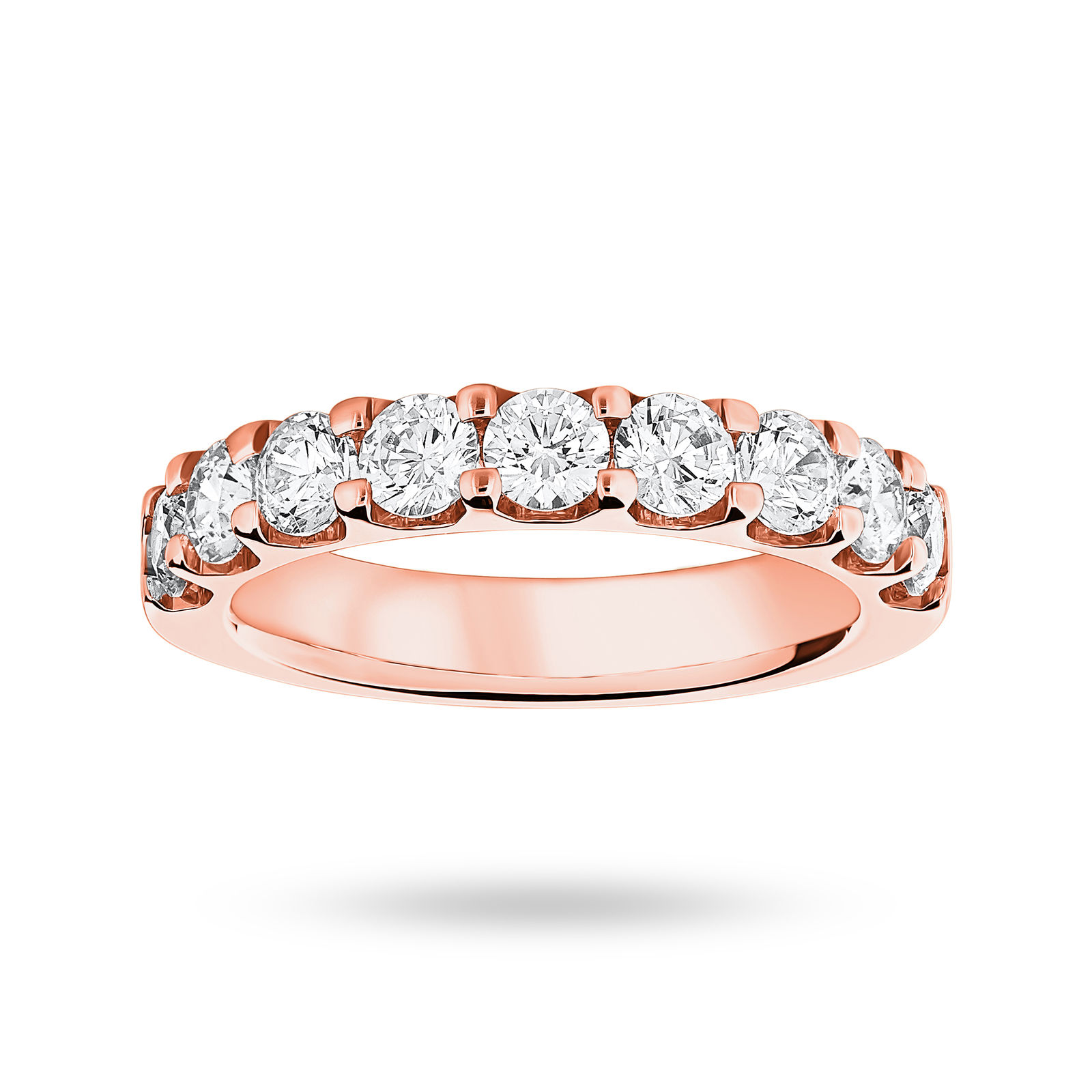 18 Carat Rose Gold 1.45 Carat Brilliant Cut Half Eternity
