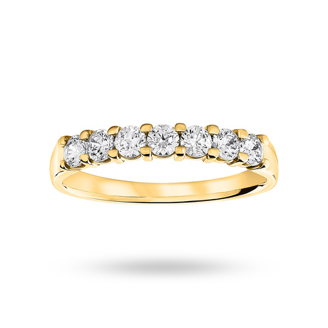 For Her - 18 Carat Yellow Gold 0.50 Carat Brilliant Cut Under Bezel Half Eternity Ring - M06504289