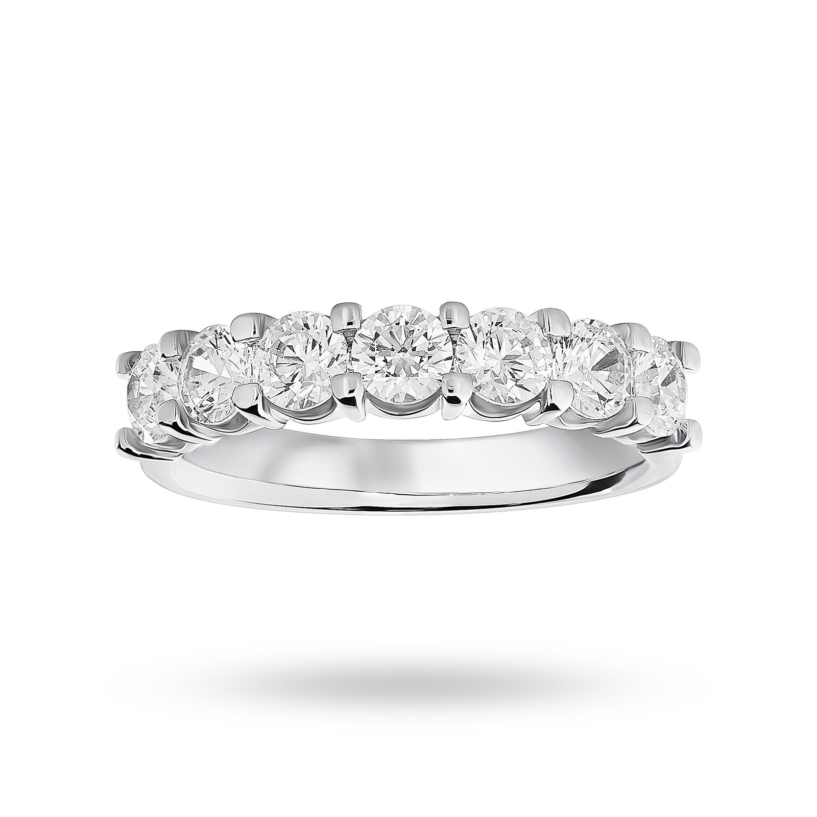 18 Carat White Gold 1.30 Carat Brilliant Cut Under Bezel Half Eternity Ring