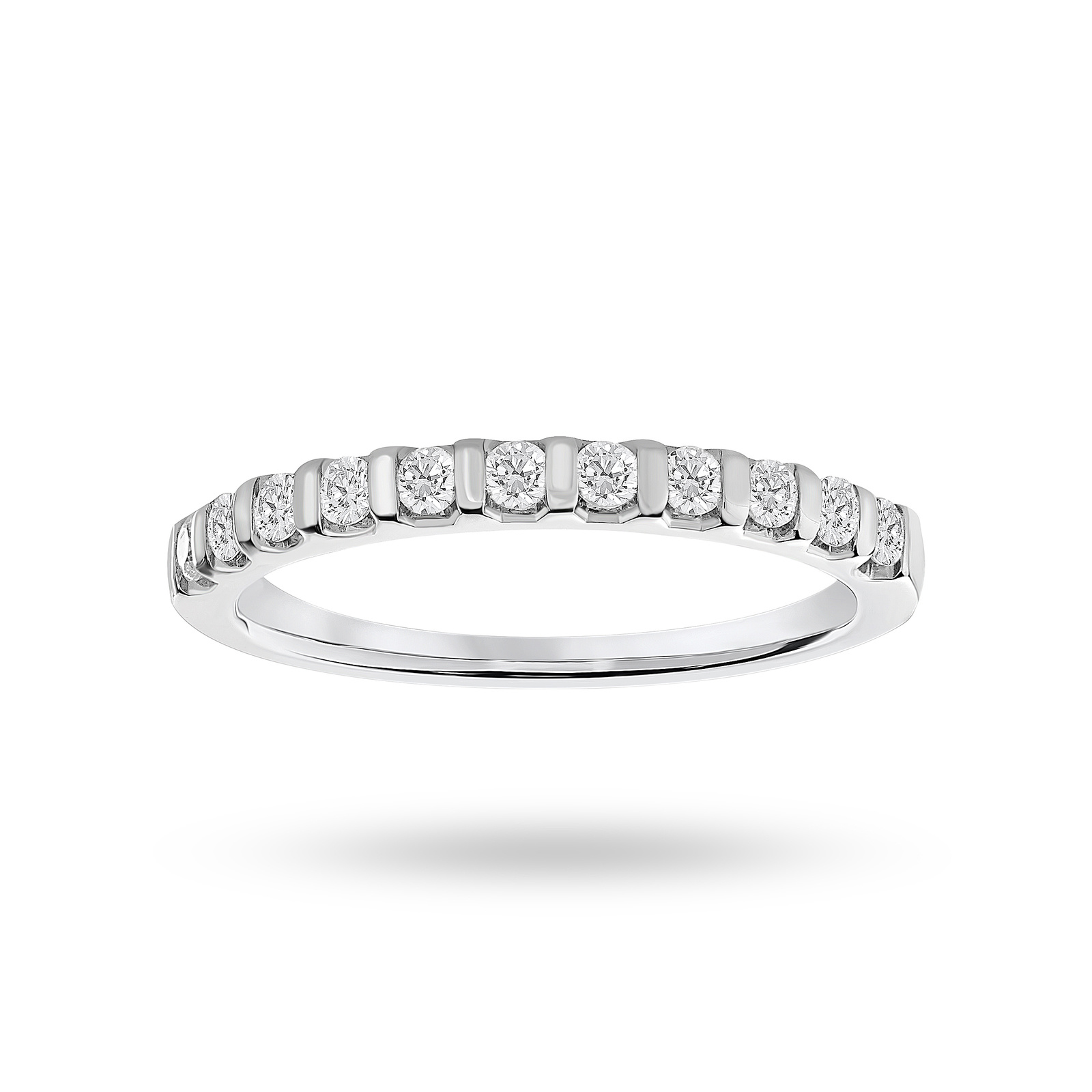 Platinum 0.30 Carat Brilliant Cut Bar Half Eternity Ring