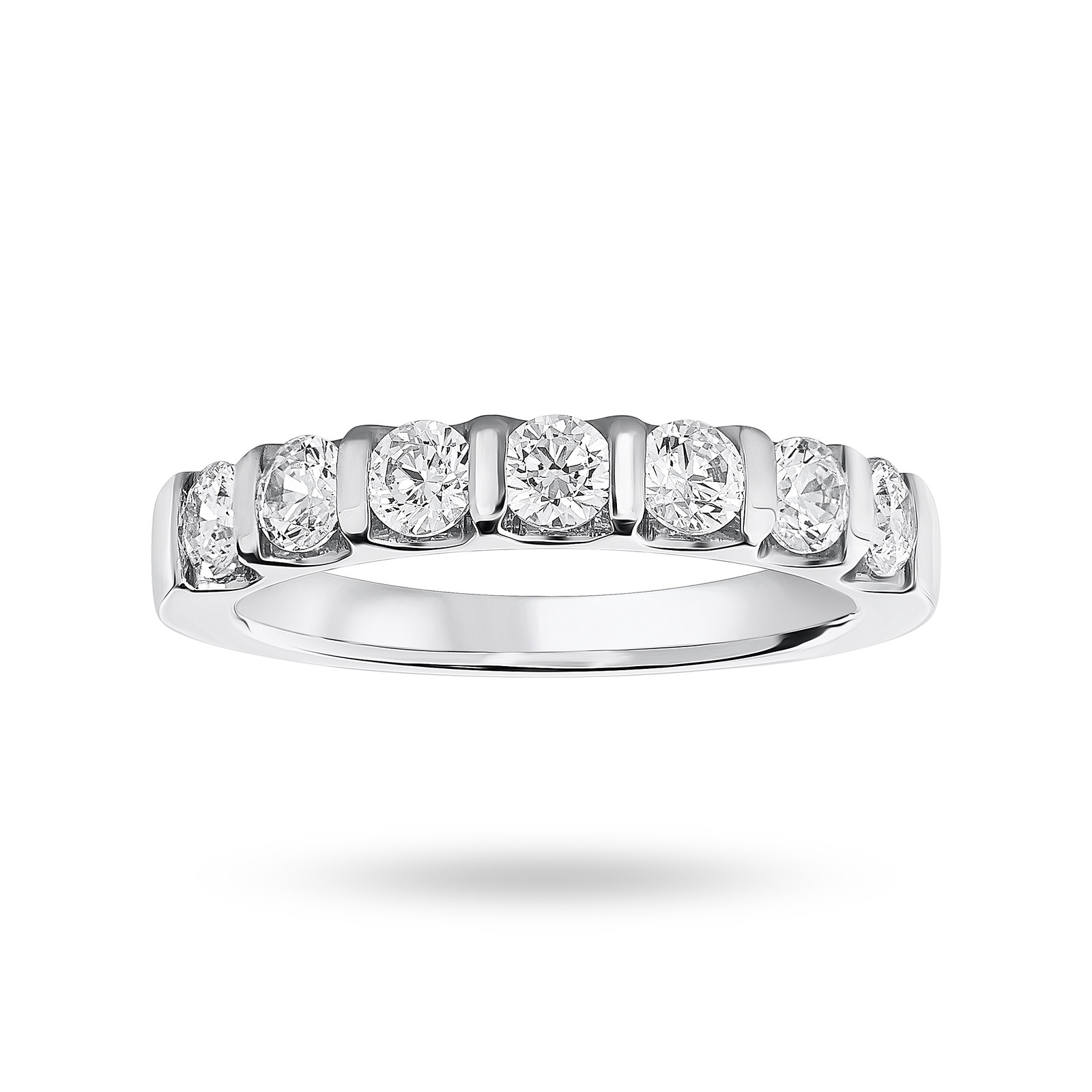 Platinum 0.77 Carat Brilliant Cut Bar Half Eternity Ring