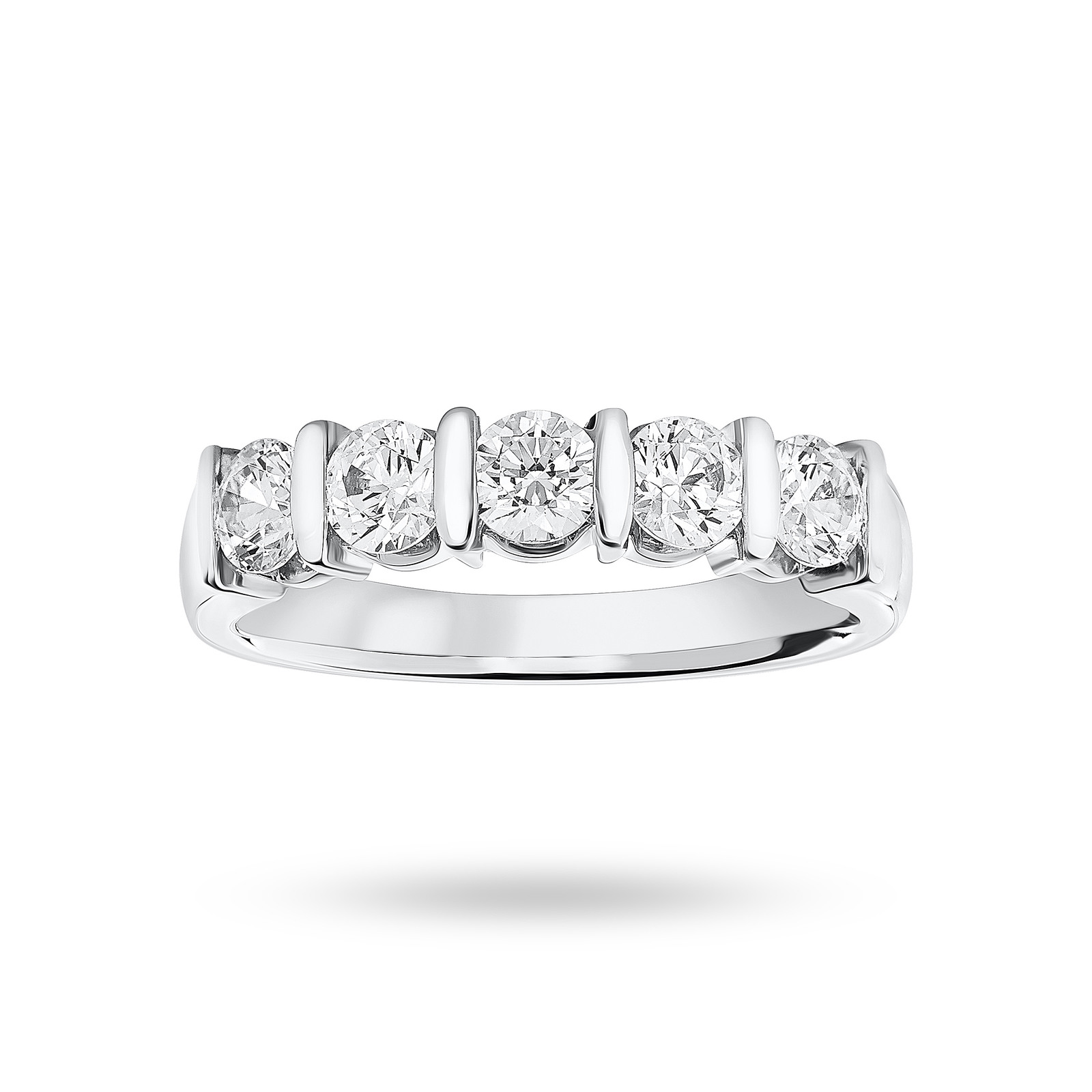 Platinum 0.90 Carat Brilliant Cut Bar Half Eternity Ring