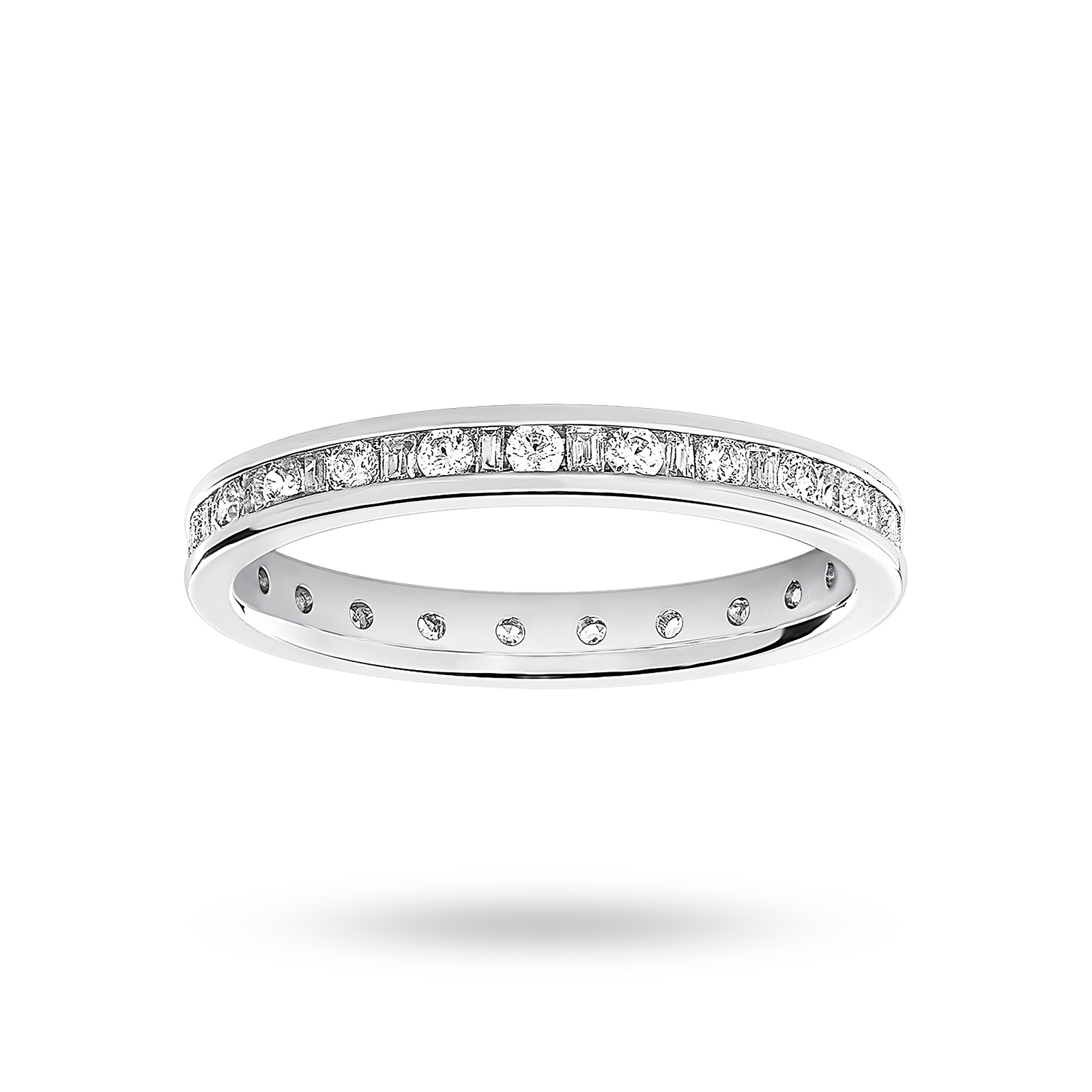 Platinum 0.50 Carat Dot Dash Channel Set Full Eternity Ring