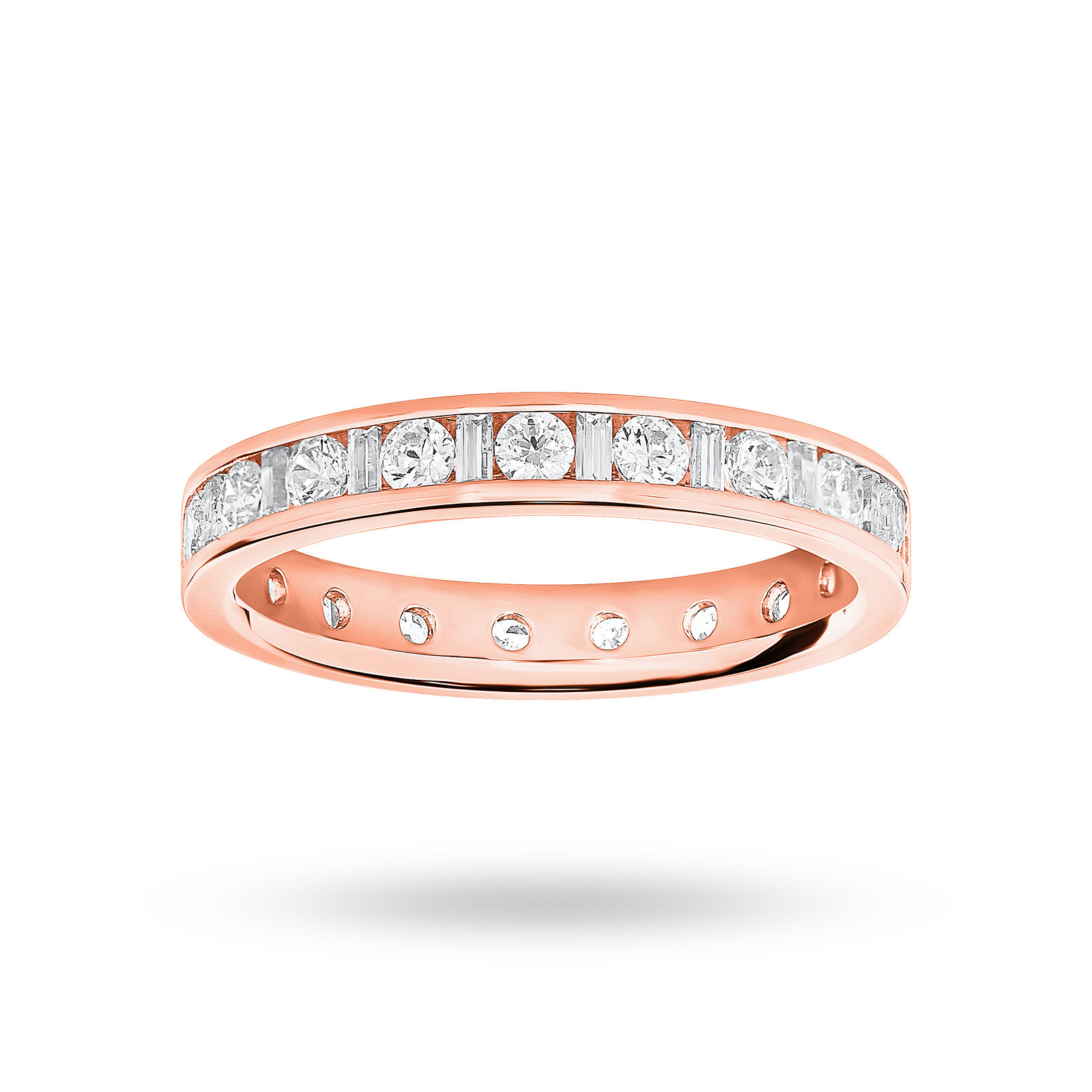 18 Carat Rose Gold 1.00 Carat Dot Dash Channel Set Full Eternity Ring