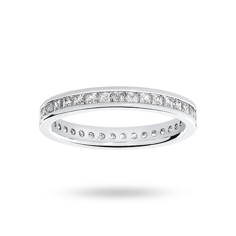 9 Carat White Gold 1.00 Carat Princess Cut Channel Set Full Eternity Ring