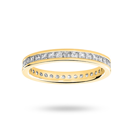 9 Carat Yellow Gold 1.00 Carat Princess Cut Channel Set Full Eternity Ring
