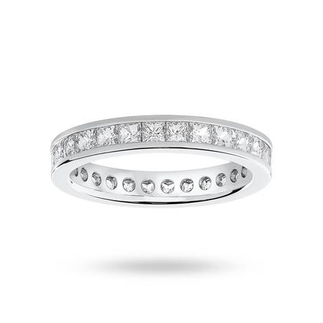 9 Carat White Gold 2.00 Carat Princess Cut Channel Set Full Eternity Ring