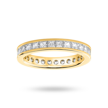 9 Carat Yellow Gold 2.00 Carat Princess Cut Channel Set Full Eternity Ring