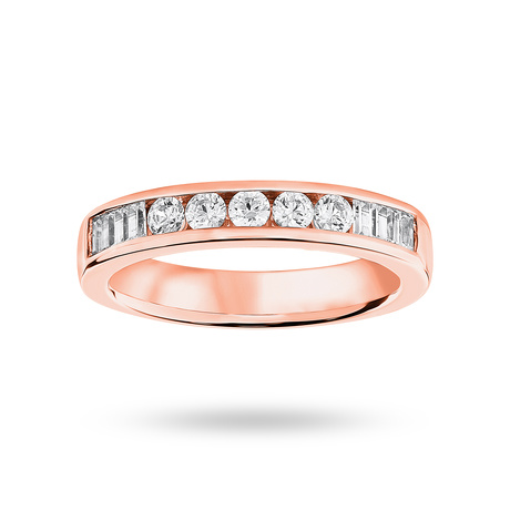 9 Carat Rose Gold 0.50 Carat Brilliant Cut and Baguette Channel Set Half Eternity Ring
