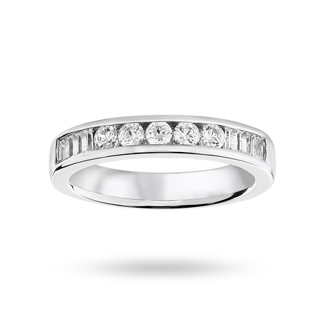 9 Carat White Gold 0.50 Carat Brilliant Cut and Baguette Channel Set Half Eternity Ring