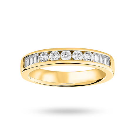 9 Carat Yellow Gold 0.50 Carat Brilliant Cut and Baguette Channel Set Half Eternity Ring
