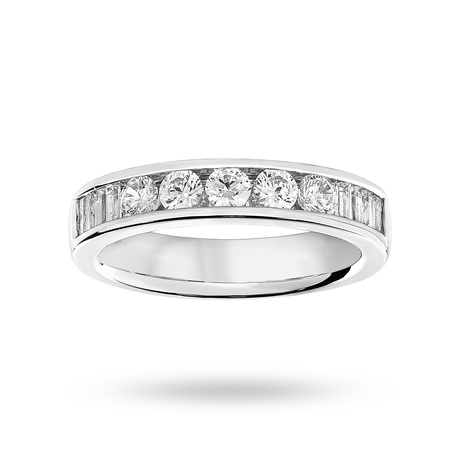 9 Carat White Gold 0.75 Carat Brilliant Cut and Baguette Channel Set Half Eternity Ring