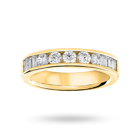 9 Carat Yellow Gold 0.75 Carat Brilliant Cut and Baguette Channel Set Half Eternity Ring