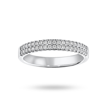 Platinum 0.25 Carat Brilliant Cut 2 Row Claw Set Half Eternity Ring