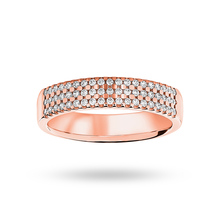 9 Carat Rose Gold 0.29 Carat Brilliant Cut 3 Row Claw Set Half Eternity Ring