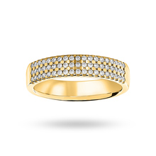 9 Carat Yellow Gold 0.29 Carat Brilliant Cut 3 Row Claw Set Half Eternity Ring