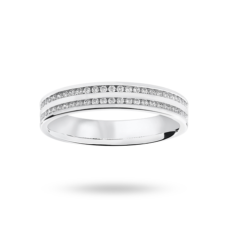 Platinum 0.28 Carat Brilliant Cut 2 Row Channel Set Half Eternity Ring