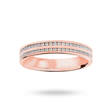 9 Carat Rose Gold 0.28 Carat Brilliant Cut 2 Row Channel Set Half Eternity Ring