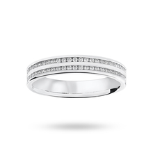 9 Carat White Gold 0.28 Carat Brilliant Cut 2 Row Channel Set Half Eternity Ring