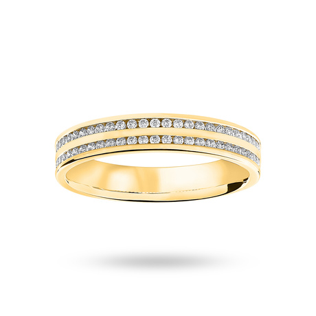 9 Carat Yellow Gold 0.28 Carat Brilliant Cut 2 Row Channel Set Half Eternity Ring