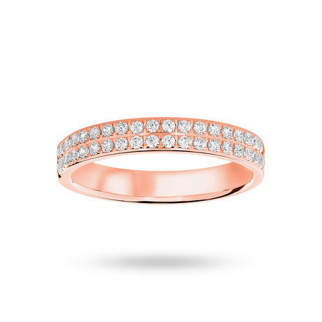 9 Carat Rose Gold 0.25 Carat Brilliant Cut 2 Row Claw Pave Half Eternity Ring