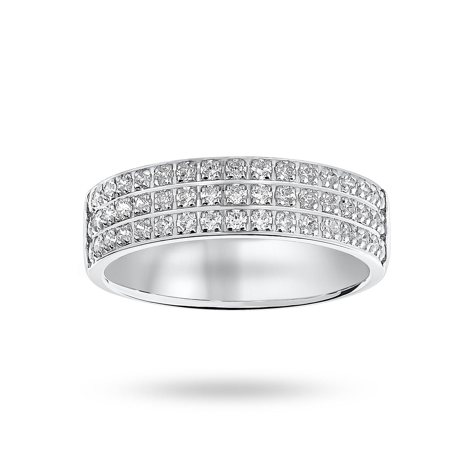 9 Carat White Gold 0.50 Carat Brilliant Cut 3 Row Claw Pave Half Eternity Ring