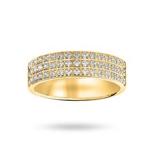 9 Ct Yellow Gold 0.50 Cttw Round Brilliant Cut 3 Row Claw Pave Half Eternity Ring