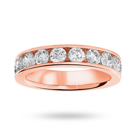 18 Carat Rose Gold 1.50 Carat Brilliant Cut Half Eternity Ring