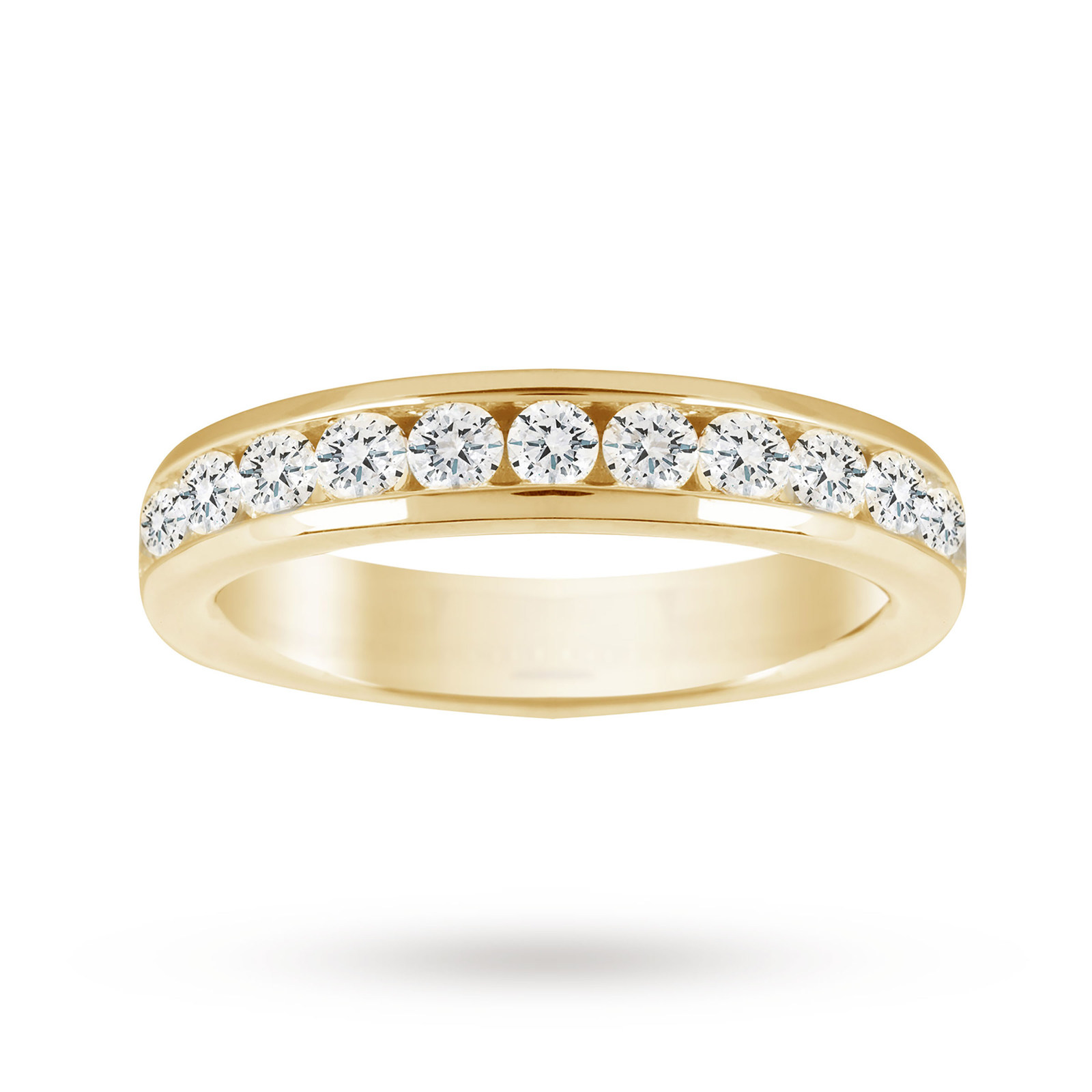 18ct Yellow Gold 1.00cttw Diamond Half Eternity Ring - Ring Size J