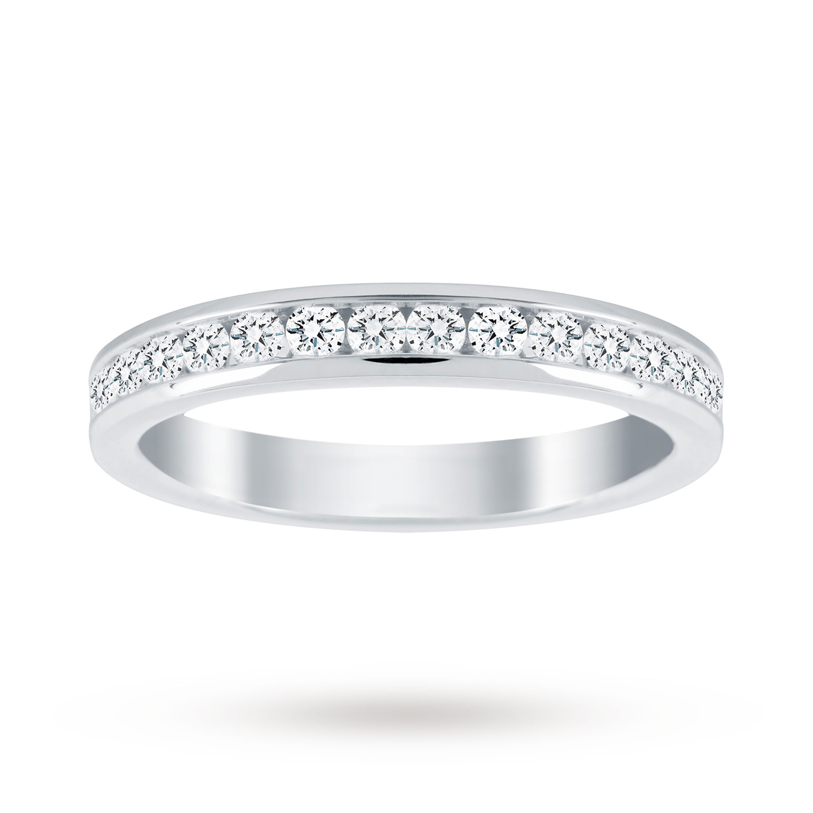 18ct White Gold 0.50cttw Diamond Half Eternity Ring - Ring Size N