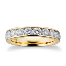18ct Yellow Gold 1.00ct Brilliant Cut 10 Stone 88 Facet Diamond Eternity Ring