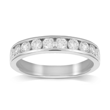 18ct White Gold 0.75ct Brilliant Cut 10 Stone 88 Facet Diamond Eternity Ring