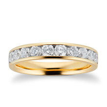 18ct Yellow Gold 0.75ct Brilliant Cut 10 Stone 88 Facet Diamond Eternity Ring