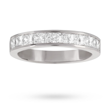 18ct White Gold 0.50ct Princess Cut 10 Stone 88 Facet Diamond Eternity Ring