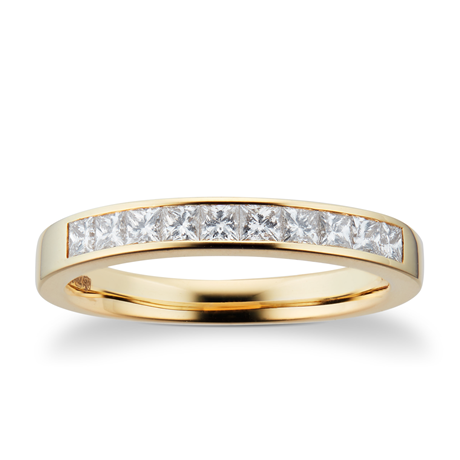 18ct Yellow Gold 0.50ct Princess Cut Goldsmiths Brightest Diamond Eternity Ring