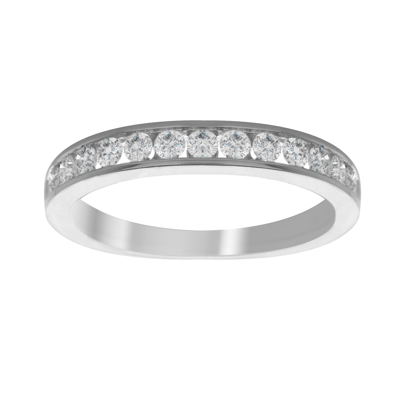 18ct White Gold 0.50ct Diamond 13 Stone Eternity Ring - Ring Size J