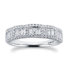 18ct White Gold 0.65ct Baguette Halo Eternity Rings