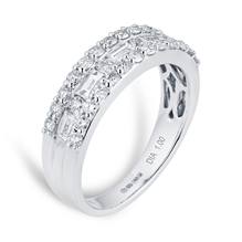 18ct White Gold 1.00ct Fancy Baguette Halo Eternity Ring