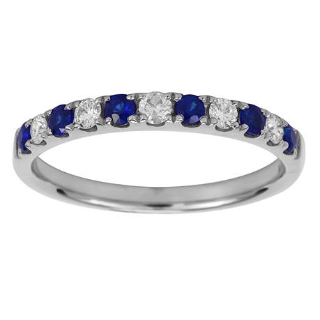 18ct White Gold 0.20ct Diamond & Sapphire Eternity Rings